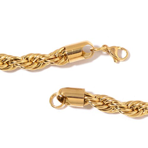 Premium Collection- High Quality Stainless Steel Rope Chain Necklace (Size 24) in Yellow Gold Plated