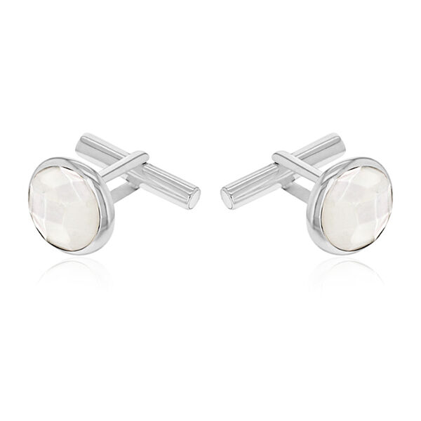 One Time Deal - Sterling Silver MOP Cufflinks.Silver Wt 7.80 Gms.