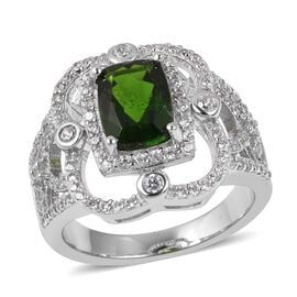 Russian Diopside (Cush), Natural Cambodian White Zircon Ring in Rhodium Overlay Sterling Silver 2.39