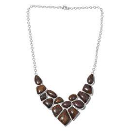Australian Boulder Opal Rock Necklace (Size 18) in Sterling Silver 146.460 Ct. Silver wt 29.50 Gms.