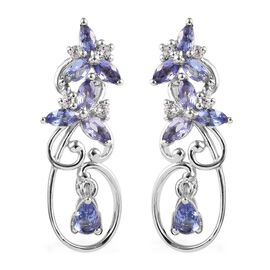 1.55 Ct Tanzanite and Zircon Floral Drop Earrings in Platinum Plated Sterling Silver