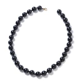 Super Auction- 9K Yellow Gold Extremely Rare AAA Double Lustre Black Tourmaline (Rnd 11-13 mm) Necklace (Size 18) in  464.000 Ct.