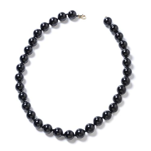 9K Yellow Gold Extremely Rare AAA Double Lustre Black Tourmaline (Rnd 11-13 mm) Necklace (Size 18) 464.000 Ct.