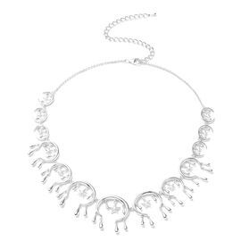 LucyQ 3D Star Drip Collection- Rhodium Overlay Sterling Silver Necklace (Size 20)
