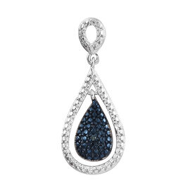 Blue Diamond (Rnd) Drop Pendant in Platinum Overlay Sterling Silver