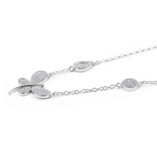 ELANZA Simulated Diamond (Rnd) Butterfly Necklace (Size 16) in Rhodium Overlay Sterling Silver.
