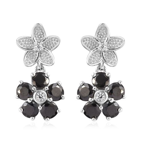 Elite Shungite and Natural Cambodian Zircon Floral Earrings (with Push Back) in Platinum Overlay Ste