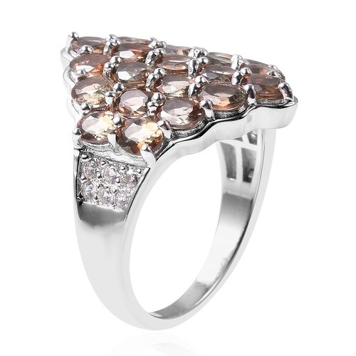 Brazilian Andalusite (Ovl), Natural White Cambodian Zircon Cluster Ring in Rhodium Overlay Sterling Silver 5.13 Ct.
