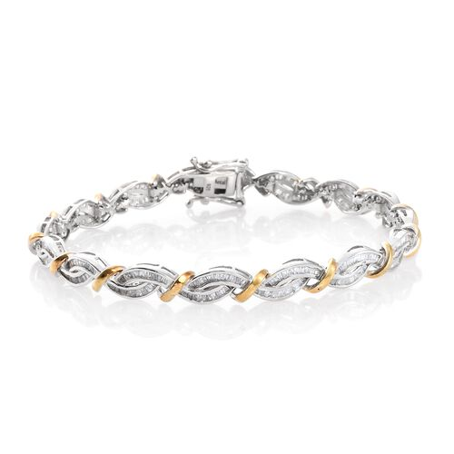 Diamond (Bgt) Bracelet (Size 7.5) in Platinum and Yellow Gold Overlay Sterling Silver 2.000 Ct, Silv