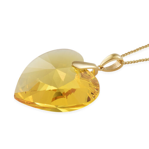 J Francis -Crystal from Swarovski Topaz Colour Crystal (Hrt 40 mm) Pendant With Chain (Size 30) in 14K Gold Overlay Sterling Silver, Silver wt 9.00 Gms.