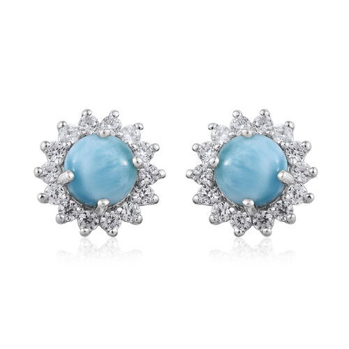 6.5 Ct Larimar and Cambodian Zircon Halo Stud Earrings in Platinum Plated Sterling Silver