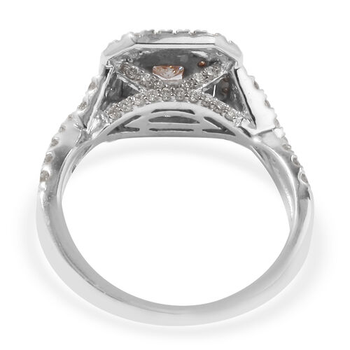 14K White and Yellow Gold Natural Pink Diamond and White Diamond (I1/G-H) Ring 1.00 Ct, Gold wt 4.70 Gms