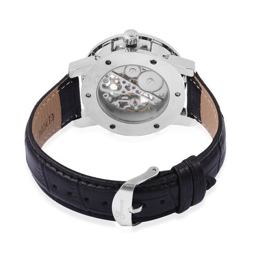 GENOA Semi - Automatic Mechanical Movement White Dial Water Resistant Watch in Silver Tone with Black Strap