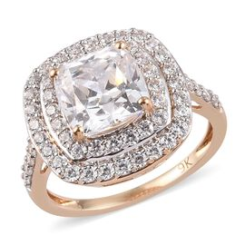 J Francis Made with SWAROVSKI ZIRCONIA Halo Ring in 9K Yellow Gold