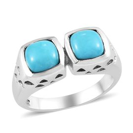 1.5 Ct Sleeping Beauty Turquoise Classic Ring in Platinum Plated Silver 6.20 Grams