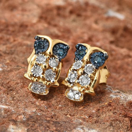 Blue Diamond (Rnd), Diamond Owl Earrings (with Push Back) in 14K Gold and Blue Overlay Sterling Silver 0.100 Ct.