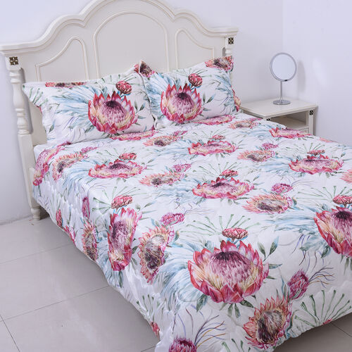 4 Piece Set - Serenity Night Off-White and Multi Colour Floral Print Comforter (220x225cm), Fitted S