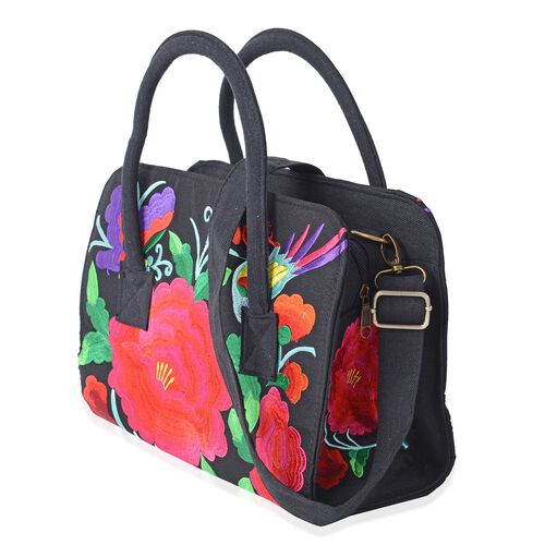 Shanghai Collection New Season  Multi Colour Flower Embroidered Tote Bag with Removable Shoulder Strap (Size 31x21.5x11 Cm)