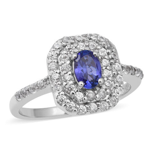 AAA Tanzanite and Natural Cambodian Zircon Ring in Rhodium Overlay Sterling Silver 1.45 Ct.