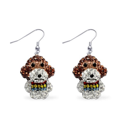 Creature Couture - Monkey Hook Earrings with Multi Colour Austrian Crystal in Silver Tone
