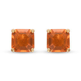 Extremely Rare Asscher Cut Jalisco Fire Opal Stud Earrings (with Push Back) in 14K Gold Overlay Ster