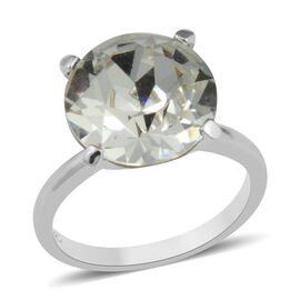 J Francis - Crystal from Swarovski White Crystal (Rnd) Solitaire Ring in Rhodium Overlay Sterling Si