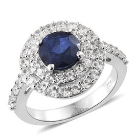 Blue Spinel (Rnd), Natural Cambodian Zircon Ring in Platinum Overlay Sterling Silver 2.980 Ct.