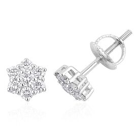 RHAPSODY 950 Platinum 0.50 Carat IGI Certified Diamond VS E-F Floral Stud Earrings