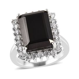 5.75 Ct Elite Shungite and Cambodian Zircon Halo Ring in Platinum Plated Sterling Silver