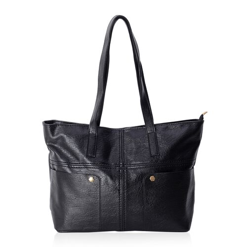 Super Light and Soft Classic Black Large Tote Bag with Multi Pockets (Size 46x37x30x12.5 Cm)