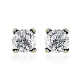 0.25 Carat Diamond Solitaire Stud Earrings in 9K Gold SGL Certified I3 GH
