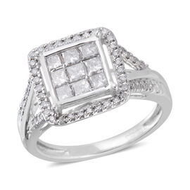 New York Close Out- 9K White Gold Diamond (I3/G-H) (Sqr and Rnd) Ring 1.000 Ct