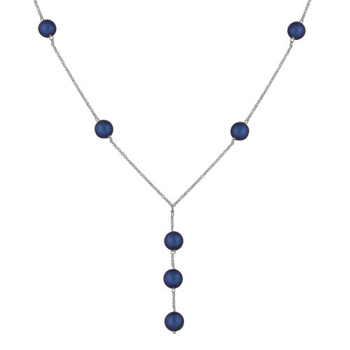 J Francis Crystal From Swarovski Iridescent Dark Blue Pearl Crystal Lariat Necklace (Size 18) in Ste
