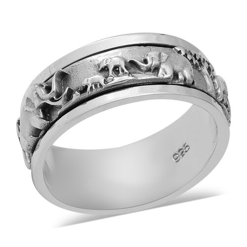 Elephant Band Ring in Sterling Silver 6.90 Grams