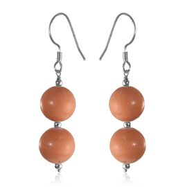 Wooden Jasper Hook Earrings in Sterling Silver 34.20 Ct.