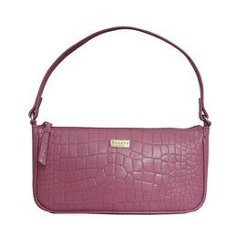 Assots London ZARA 100% Genuine Leather Croc Embossed Handbag - Pink