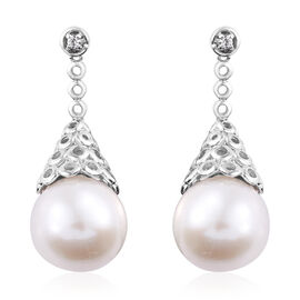 Edison Pearl (Rnd), Natural Cambodian Zircon Earrings (with Push Back) in Platinum Overlay Sterling Silver