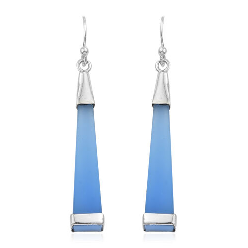 Designer Inspired- Namibian Blue Chalcedony Hook Earrings in Sterling Silver 19.000 Ct.