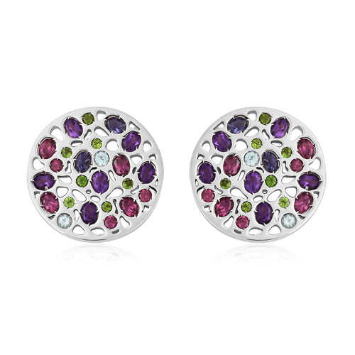 RACHEL GALLEY Rhodolite Garnet, Russian Diopside and Multi Gemstone Stud Earrings (with Push Back) i