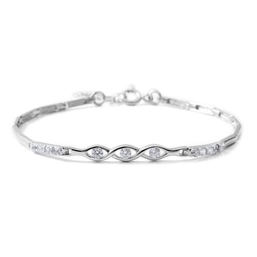 ELANZA Simulated Diamond (Rnd) Bracelet (Size 7.5 with Extender) in Rhodium Overlay Sterling Silver