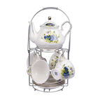 Set of 14 - Rose Pattern Tea Set with Storage Rack - White & Blue