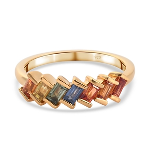Rainbow Sapphire Band Ring in 14K Gold Overlay Sterling Silver