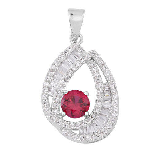 Signature Collection-ELANZA AAA Simulated Ruby (Rnd), Simulated Diamond Pendant in Rhodium Plated Sterling Silver, Silver wt 3.19 Gms.