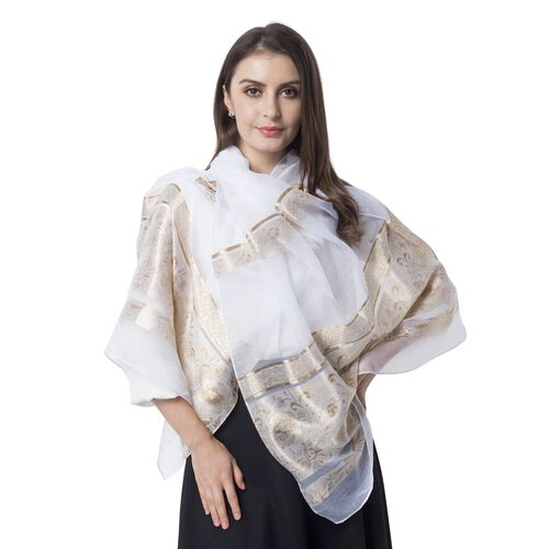 White Colour and Golden Stripe Plum Blossom Pattern Scarf (Size 180x70 Cm)