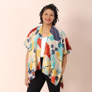 JOVIE Garden Theme Pattern Women Kimono (Size:90x70Cm) - Off White and Multi