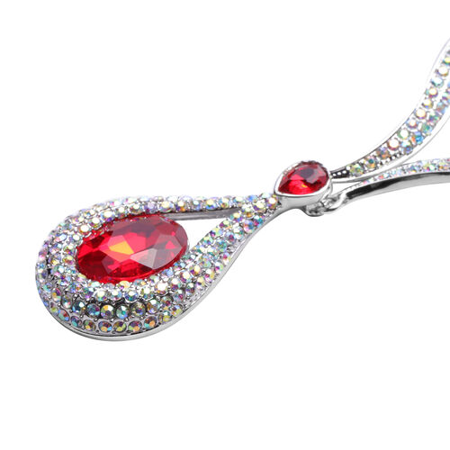 Simulated Ruby and Simulated Mystic White Crystal Necklace (Size 21 with Extender) in Silver Tone