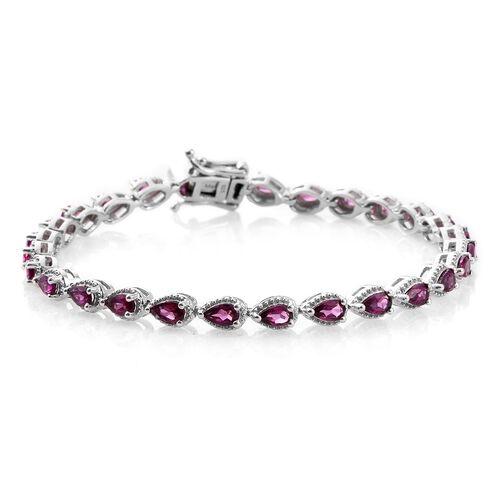 Rare Natural Purple Garnet (Pear) Bracelet (Size 7.5) in Platinum Overlay Sterling Silver 6.50 Ct.