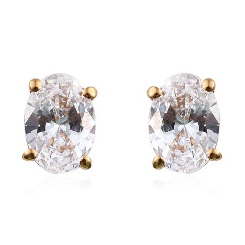 J Francis - 14K Gold Overlay Sterling Silver (Ovl) Stud Earrings (with Push Back) Made with SWAROVSK
