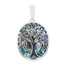 Royal Bali Collection - Abalone Shell (Ovl) Tree of Life Pendant in Sterling Silver