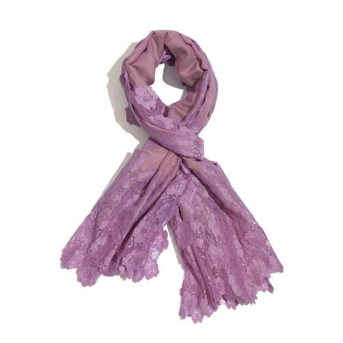Hand Knitted - (50% Mulberry Silk and 50% Merino Wool) Purple Colour Scarf with Floral Lace Border (Size 170x75 Cm)